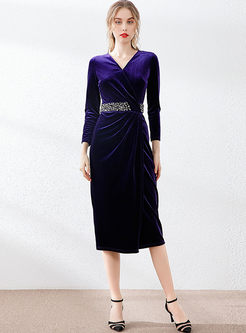 V-neck Long Sleeve Velvet Bodycon Dress