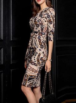 V-neck Bowknot Print Bodycon Dress
