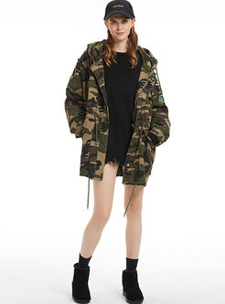 Hooded Camouflage Thick Denim Coat