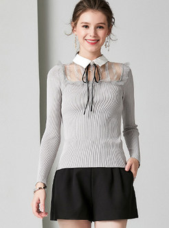 Stand Collar Lace Patchwork Slim Sweater