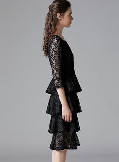 Black Lace Openwork A Line Cake Dress