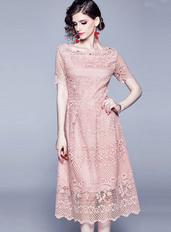 Square Collar Lace Openwork Skater Dress