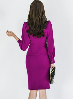 Work Notched Lantern Sleeve Bodycon Dress