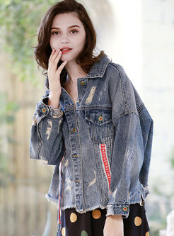 Lapel Hole Patch Denim Loose Coat
