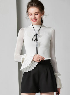 Standing Collar Flare Sleeve Slim Sweater