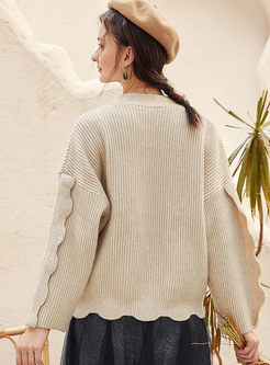 Solid Color V-neck Loose Sweater Cardigan