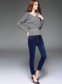 Brief V-neck Waist Pullover Sweater