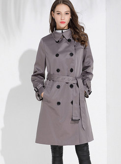 Gray Lapel Double-breasted Trench Coat