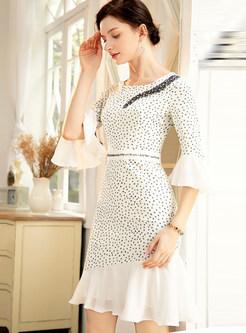White Flare Sleeve Beading Dot Bodycon Mermaid Dress