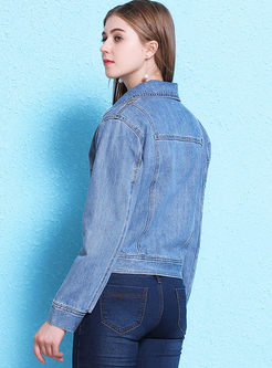 Notched Long Sleeve Short Denim Jacket