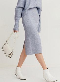 High Waisted Slim Slit Knitted Skirt