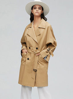 Turn Down Collar Slim Loose Trench Coat