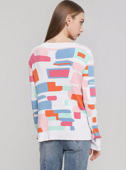 O-neck Long Sleeve Geometric Print Cardigan