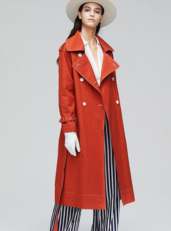Orange Lapel Loose Long Trench Coat
