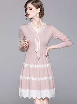 Color-blocked Irregular A Line Sweater Dress