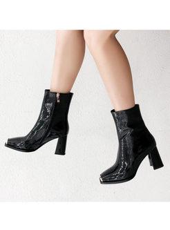 Square Head Chunky Heel Short Boots