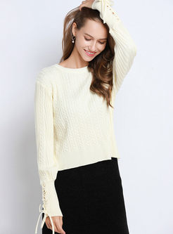 O-neck Pullover Tie Loose Sweater