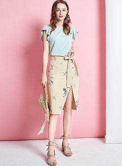 High Waisted Embroidered Slit Skirt