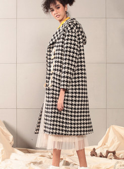 Plaid Single-breasted Long Loose Hooded Overcoat