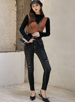 Stylish Black Denim Hole Pencil Pants
