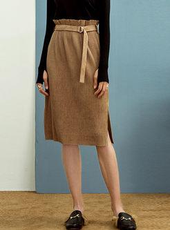 Retro High Waisted Slit Straight Skirt