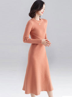 O-neck Long Sleeve A Line Sweater Dress