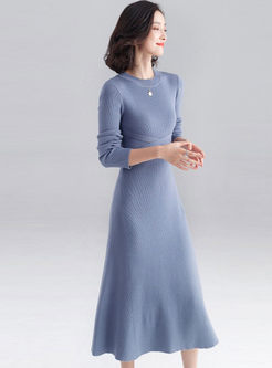 Solid Color Tie High Waisted Sweater Dress