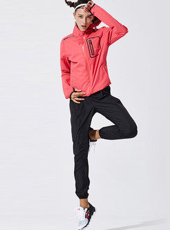Rose Red Patchwork Hooded Sport Jacket