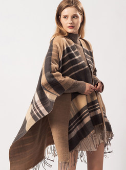 Color-blocked Tassel Plaid Thick Scarf
