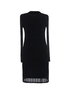 Retro Black Slim Dress & Denim Long Vest
