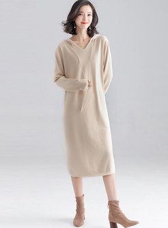 Casual Straight Hooded Sweater Dress