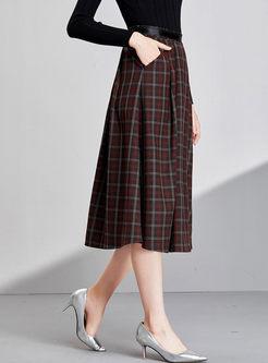 High Waisted Plaid A Line Midi Skirt