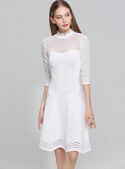 Mesh Openwork Patchwork Sweater Dress