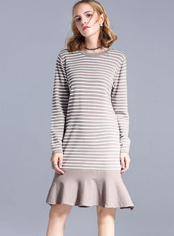 O-neck Long Sleeve Stripe Sweater Dress