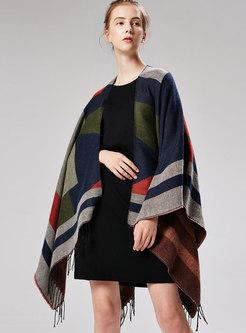 Fashion Color-blocked Tassel Cloak Scarf