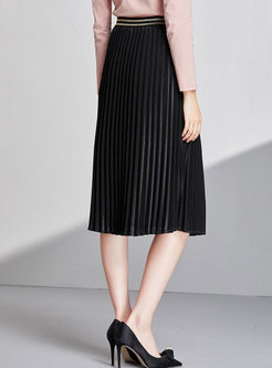 Black Elastic Waist Pleated A Line Skirt