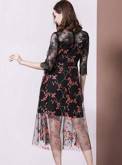 Transparent Mesh Embroidered A Line Dress