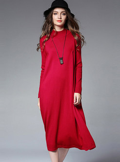 Brief Pullover Loose Long Sweater Dress
