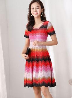 Color-blocked O-neck Stripe Sweater Dress