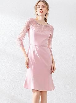 3/4 Sleeve Mesh Patchwork Mermaid Dress