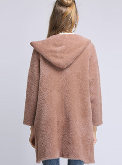 Thick Straight Hooded Teddy Coat With Pockets