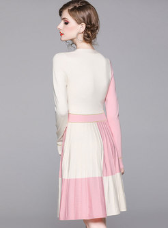 Bowknot Color-blocked Pleated Sweater Dress