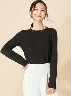 Brief O-neck Long Sleeve Kint Sweater