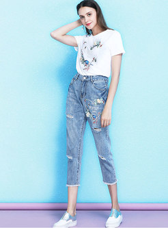 Casual Hole Embroidered Denim Pants