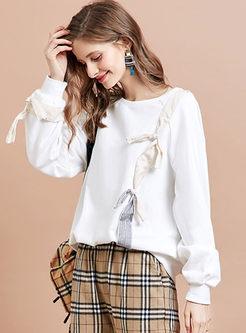 White O-neck Long Sleeve Pullover Sweatshirt