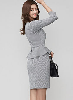 Work V-neck Falbala Patchwork Bodycon Dress
