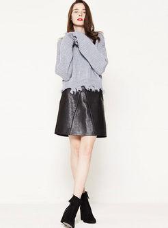 PU High Waisted Mini A Line Skirt