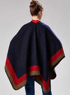 Trendy Geometric Print Thick Cloak Scarf