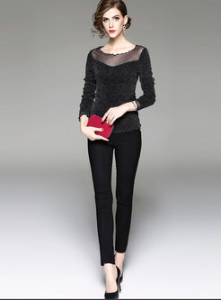 O-neck Mesh Patchwork Thick Slim T-shirt