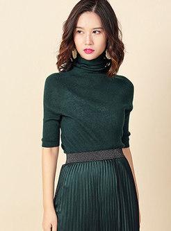High Collar Half Sleeve Slim Sweater